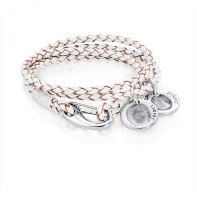 Fingerprint Charms on Leather Bracelet
