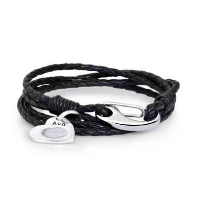 black-leather-bracelet-and-charm
