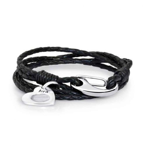 black-leather-bracelet-and-charm