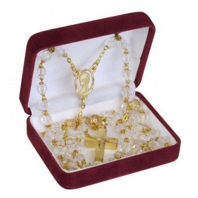 Crystal Gold Rosary Bead Keepsake