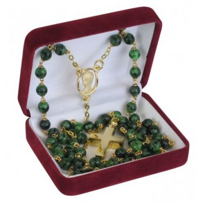 Green Marbled Rosary Gold Keepsake