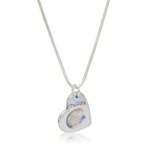 Fingerprint pendant on necklace fingerprint jewellery the memorysmith fingerprint necklace mozeypictures Image collections