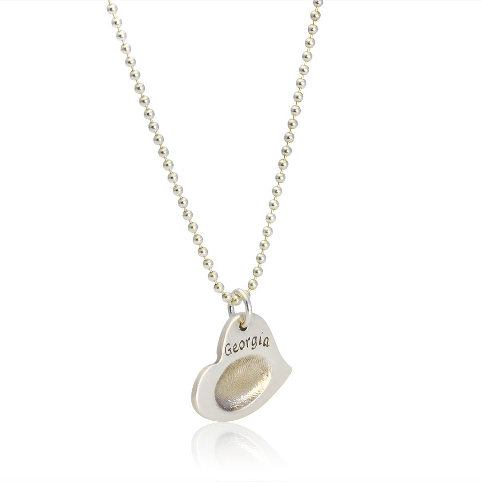 edges hung gold ink fingerprint silver charm in necklace from suspended heart products or