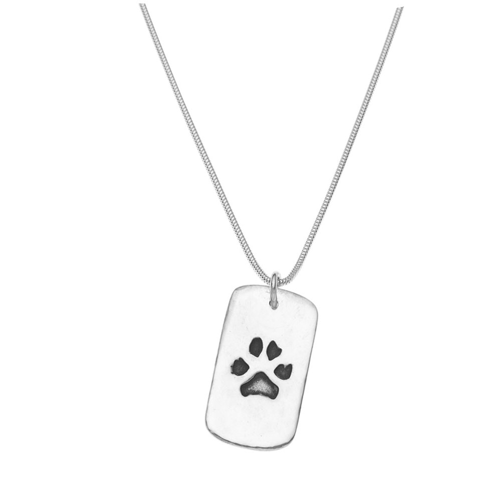 Paw print pendant on necklace gift ideas by the memorysmith paw print on large dogtag necklace in silver aloadofball Gallery